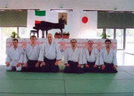 Посещение юбилейного семинара 40-летия Айкидо Айкикай Италии. Хироси Тада (9 дан), Джорджио Венери (6 дан)